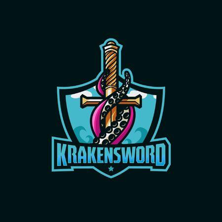 Kraken sword awesome sport Vector Illustratie