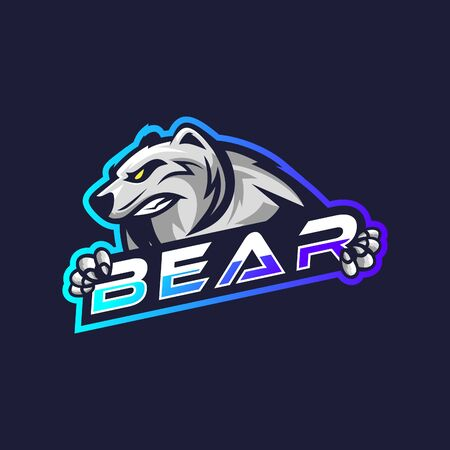 Awesome white bear esport logo for gaming squad