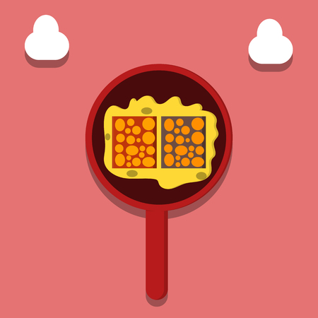 Cooking tempe food, Food from soy beans, Indonesian llustration - Vector