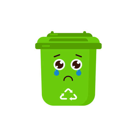 Sad Trash Bin Character Cause Do not Use Icon, Logo, and illustration Vector Logo