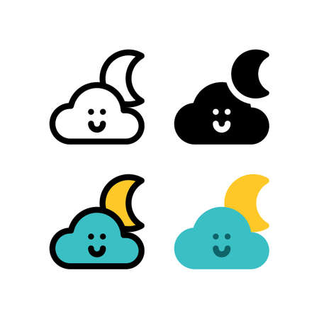 Cute Cloud Weather Moon in Night Outline Icon