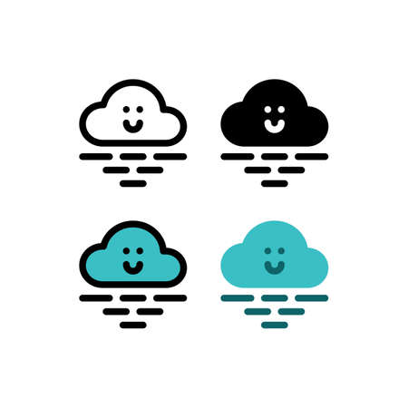 Nice Cute Cloud Weather Beach and Ocean Outline Icon