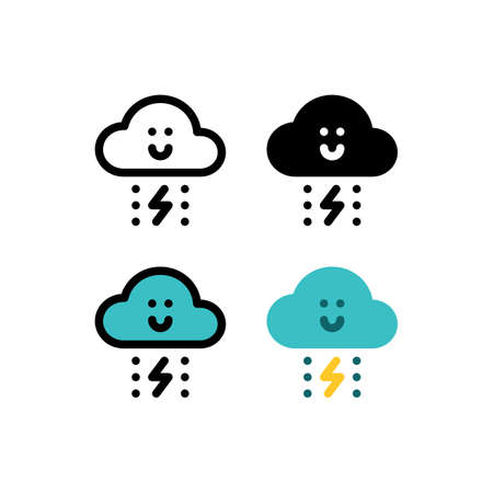 Storm, Rain And Thunder Cute Cloud Weather Outline Icon