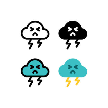 Thunder Lighting Cute Cloud Weather Outline Icon