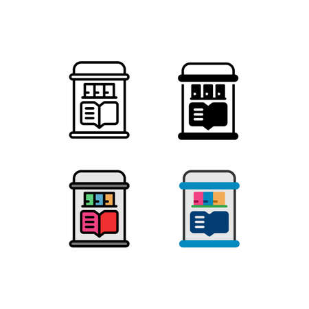 Library collection of e-book, electronic book Smartphone Function Icon, Logo, and illustration