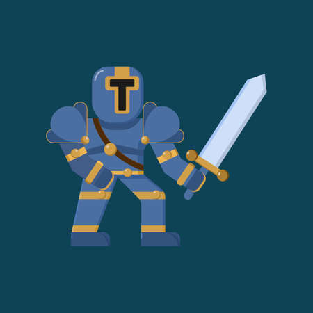 Knight with full armor and sword ready to fight Character Icon, Logo, and illustration