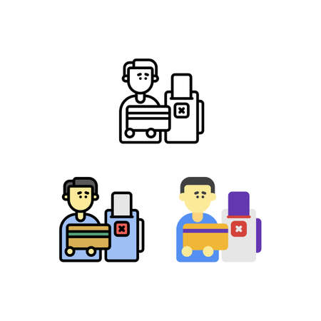 Problem debut credit cannot di payment Icon, Logo, and illustration