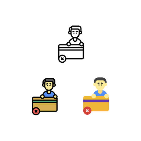Problem card debit or credit Icon, Logo, and illustration