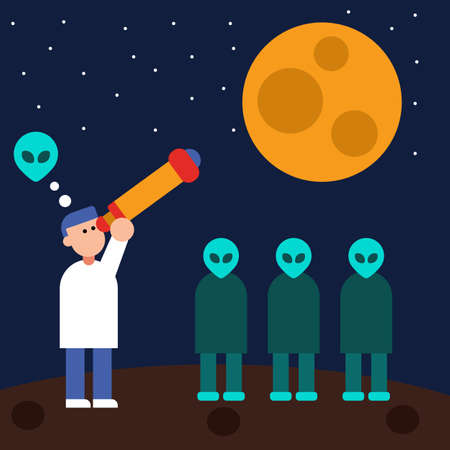 Observatory do a search for aliens in space it turn out that aliens are all around us flat illustration