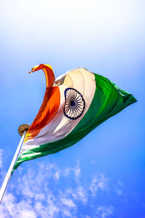 Indian Flag - Flying High Up In The Air Stock Photo