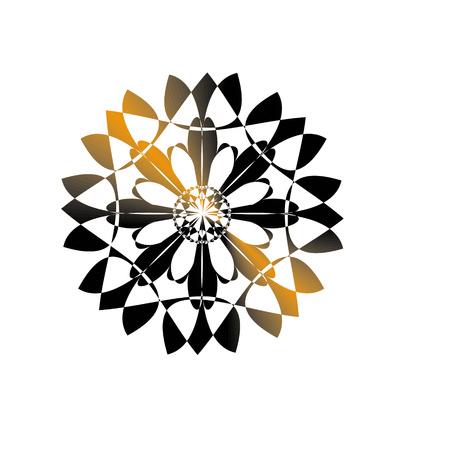 Geometric symmetrical circular black and gold mandala vector Vector Illustration