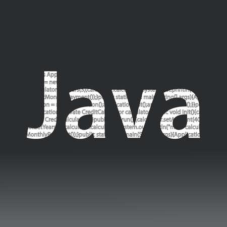 Java 言語の記号。ベクトルの図。Java プログラミング言語は黒の背景に