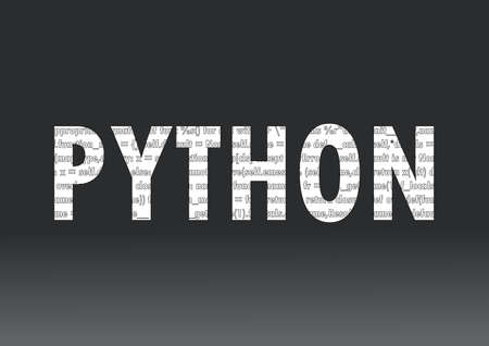 Python language sign. Vector illustration. Python programming language on a black background