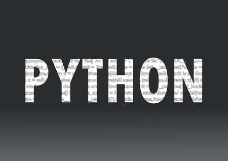 Znak języka Python. Ilustracja wektorowa. Język programowania Python na czarnym tle