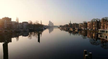 amstel river: Amstel river in Amsterdam