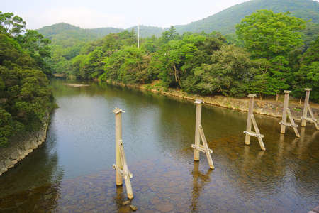 Isuzu River at Ise Grand Shrine (Ise Jingu Naiku - inner shrine), Ise City, Mie Pref., Japan Stockfoto
