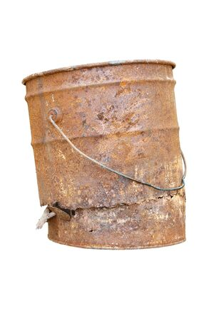 Old rust bucket on white background photo