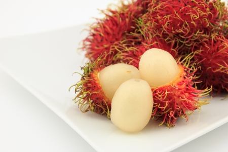 rambutan fruit on white background photo