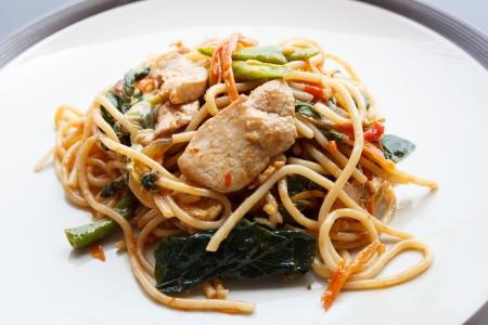drunken Spaghetti - Stir Fried Spicy Spaghetti With chicken (Thai Food) photo