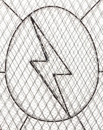 chainlink: High Voltage Sign, sign danger with Chainlink Fencing Mesh isolated on white background