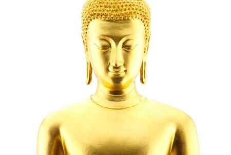 Golden face buddha statue isolated on white background photo