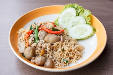 stir fried  spicy  noodle with pork and straw mushroom (thai food) Stock Photo - 24093715