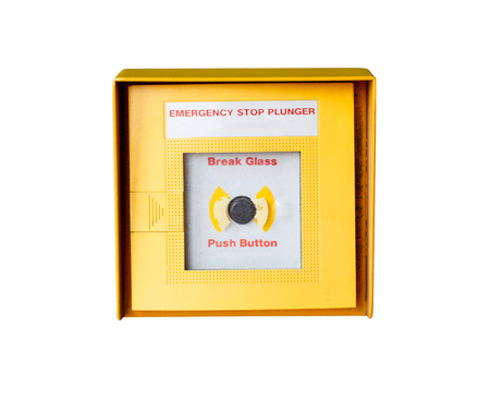 emergency stop button isolated on white background Stock Photo - 24444998