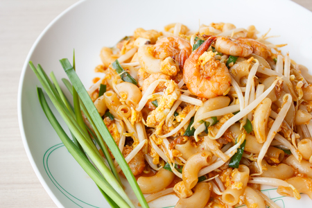 stir-fried macaroni  with shrimps (Creative Pad Thai) Stock Photo - 24873374