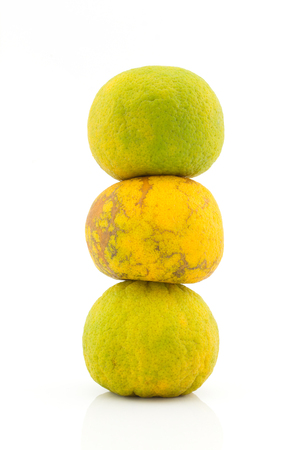 superimpose: Stack of mandarin orange isolated on white background