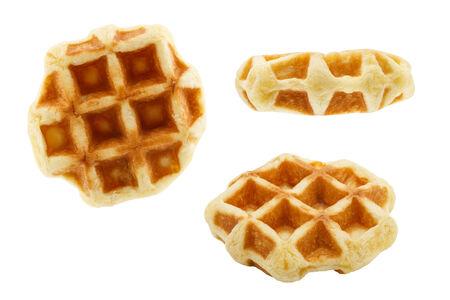 set of small waffles isolated on white background photo