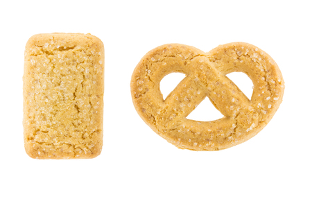Two butter cookies isolated on white background photo