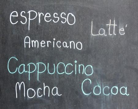 Hand written menu coffee on blackboard photo