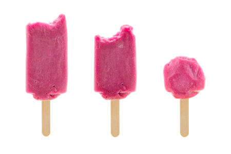 set of three bitten icecream isolated on white background photo