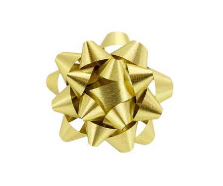 fiocco oro: Prua isolato oro su sfondo bianco Archivio Fotografico