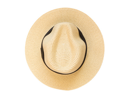 Top view panama hat isolated on white background