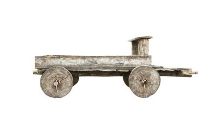pull toy: Carro de madera viejo aislado en el fondo blanco Foto de archivo