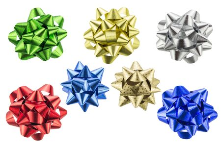 top veiw: set of gift bows isolated on white background