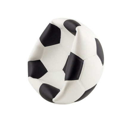 leather ball: New deflated soccer ball isolated on white background