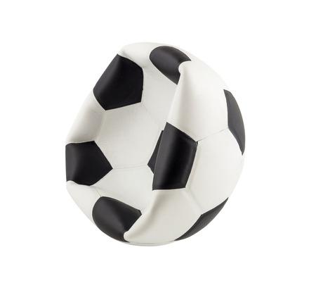 pelota de futbol: Nuevo bal�n de f�tbol desinflado aislado en fondo blanco