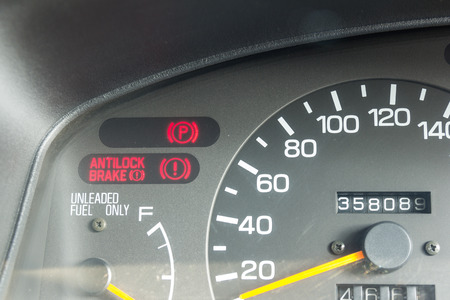 Car dashboard warning lights symbols showing brake system , Anti-Lock Brake, parking brake