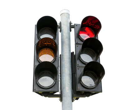 amber light: traffic light yellow and red  turn signal isolated on white background
