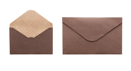 open and close brown envelope isolated photo