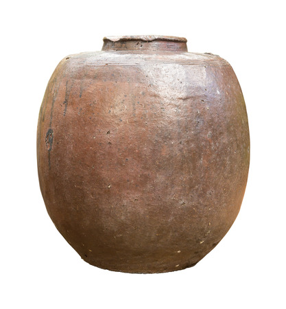 earthenware: brown clay jar isolated on white background  Thai Earthenware Stock Photo