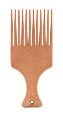 comb hair: Orange afro pick isolated on white background