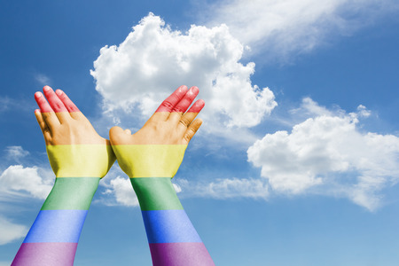 bird hands sign painted rainbow flag on sky background. Freedom concept