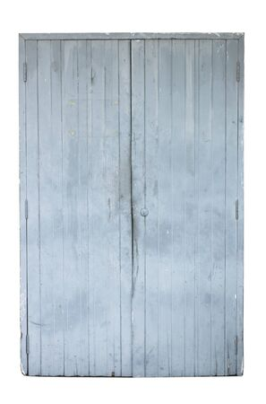 Old gray wooden door isolated on white background