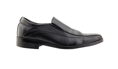 loafer: Black leather man shoes isolated on white background