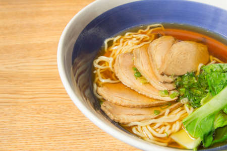 noodles soup: close-up of stewed duck with egg noodles soup