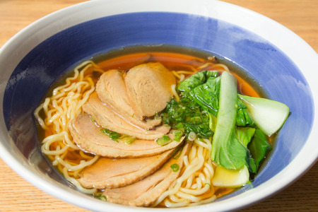 noodles soup: close up of stewed duck with egg noodles soup