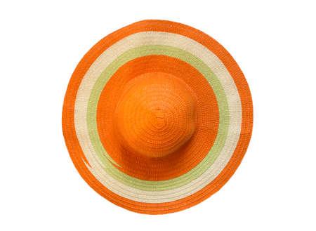 orange floppy hat isolated white background